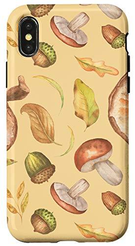 iPhone X/XS Cottagecore Mushroom Leaves Acorn Watercolor Pattern Case