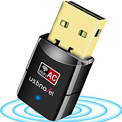 USB WiFi Adapter for Desktop PC 802.11 ac Wireless Compture Network Adapter High Gain Dual Band WiFi Dongle Receiver for Laptop Windows Mac OS10.6-10.15(AC600Mbps,No Need CD)