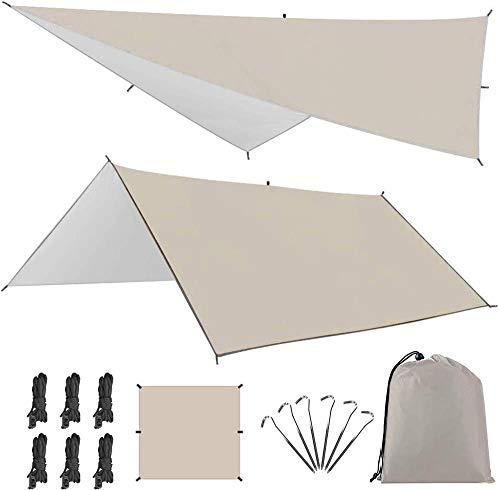防水タープ Linkax タープテント 軽量 サンシェルター ポータブル 天幕シェード キャンプ用品 (3m*3m) 収納袋付き2-5人適用