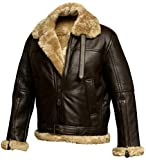 RAF Bomber Ginger Aviator British Sheepskin Shearling Leather...