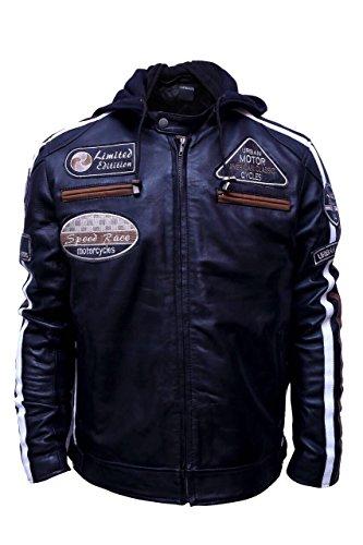 Chaqueta Moto Hombre en Cuero Urban Leather '58 GENTS' | Chaqueta Cuero Hombre | Cazadora de Moto de Piel de Cordero | Armadura Removible para Espalda, Hombros y Codos Aprobada por la CE |Negro | 5XL