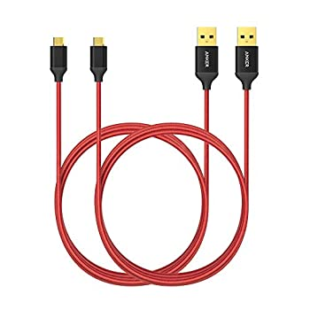[2-Pack] Anker 6ft / 1.8m Nylon Braided Tangle-Free Micro USB Cable with Gold-Plated Connectors for Android Samsung HTC Nokia Sony and More Red