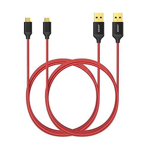 Anker Micro USB High Speed Sync und Ladekabel, rot, 1,8 m Länge, Packung von 2