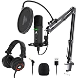 USB Microphone with Studio Headphone Set 192KHz/24Bit Zero Latency Monitoring MAONO AU-PM401H...