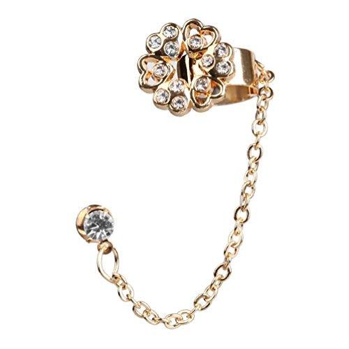 BodyJ4You Earring Cuff with Flower Crystal, Ear Cuffs Flower Chain Dangle, Cartilage Earrings