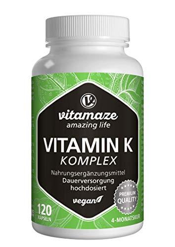 Vitamina K Complejo de Alta Dosis y Vegano, K1 1.000 mcg + K2 Menaquinona (1.000 mcg MK4 + 200 mcg MK7), 120 Cápsulas Durante 4 Meses, Mejor Biodisponibilidad, sin Aditivos