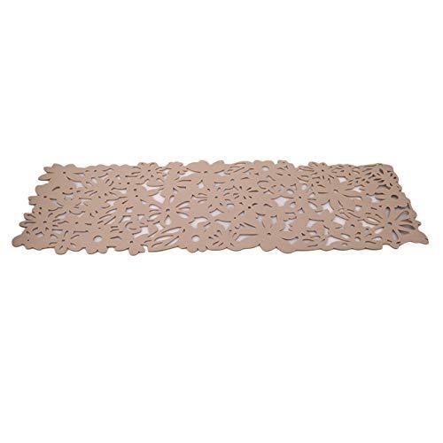 Bigsweety Rechteck Filz Tischläufer Tischsets Home Dekoration Hollow Flower Tischdecke Tischsets (Khaki)