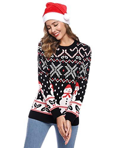Aibrou Maglione Natalizio Donna, Xmas Pullover Natale Donna Manica Lunga con Pupazzo di Neve Stampare, Maglieria Maglioni Donna Natalizi per Autunno Inverno