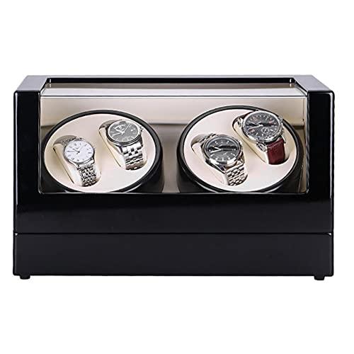FFTUB Caja Enrolladora De Reloj para 4 Relojes Caja De Reloj Giratoria Concha De Madera Exterior De Pintura De Piano 4 Configuración del Modo De Rotación Motor Silencioso,Negro