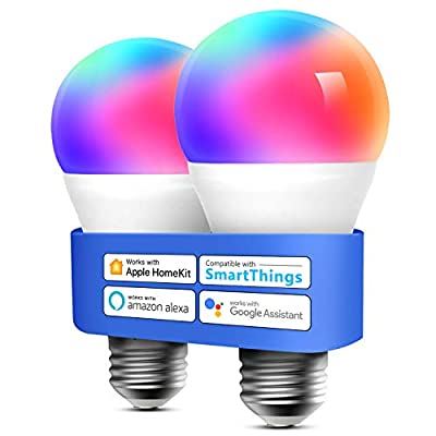 Smart Light Bulb, meross Smart WiFi LED Bulbs Compatible with Apple HomeKit, Siri, Alexa, Google Assistant and SmartThings, Dimmable E26 Multicolor 2700K-6500K RGB, 810 Lumens 60W Equivalent, 2 Pack