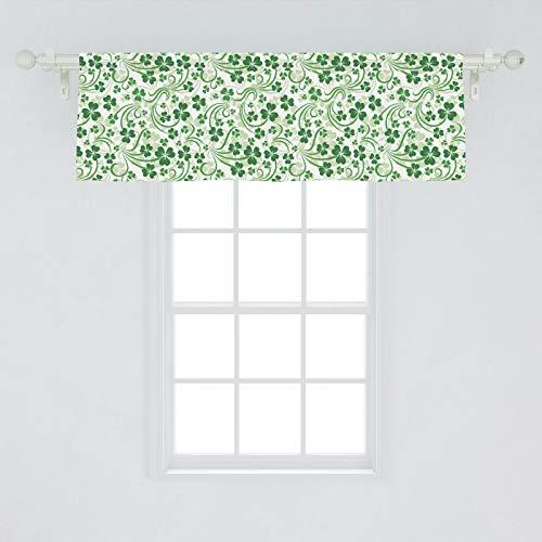 Lunarable Shamrock Window Valance, Lucky Celtic Clovers Swirls Monochrome Irish Design St Patrick's Day, Curtain Valance for Kitchen Bedroom Decor with Rod Pocket, 54' X 18', Emerald Green