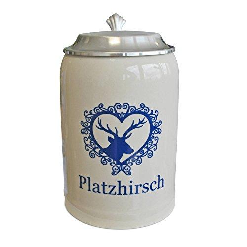 Geschenkbox Alpenländischer Steinkrug mit Zinndeckel in moderner Optik mit Aufschrift Platzhirsch, blau, Steingut, 0,5l