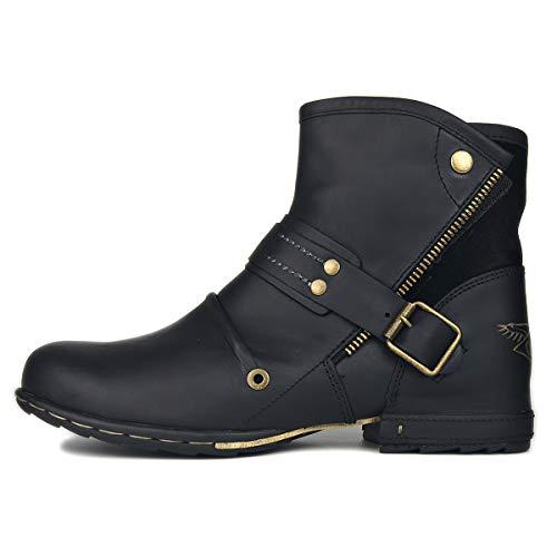 Botas con cordones laterales y cremallera para hombre, botas de trabajo militar de motocicleta británica, botas de hombre de Otoño Invierno, botas