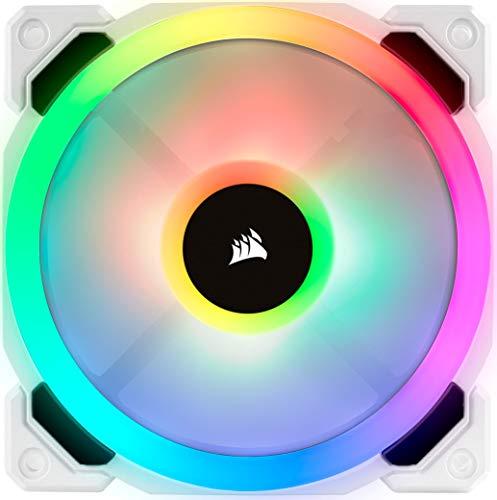 Corsair LL120 RGB LED PWM PC-Gehäuselüfter (120mm Dual Licht Loop RGB LED, Einzelverpackung) weiß
