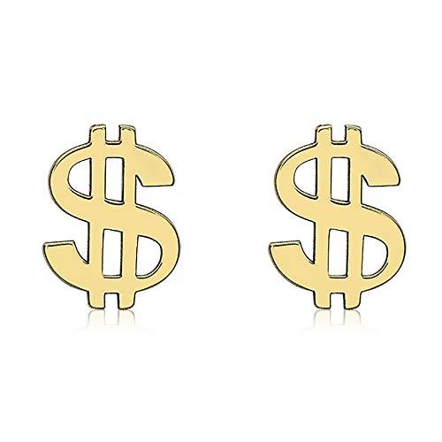 Carissima Gold Pendientes de Botón con Signo de Dólar para Mujer en Oro Amarillo 9K (375) - 5mm x 6.9mm