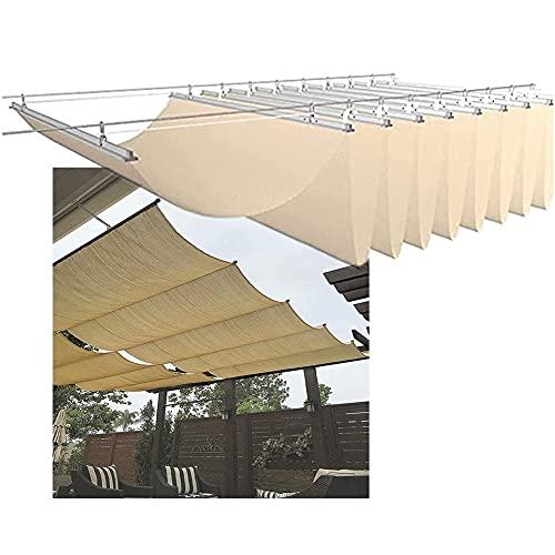 YJFENG Pérgola Protector Solar Tela Equipo, Reemplazo Onda Pabellón Velas De Sombra Cubrir para Techo Kiosko Balcón Sala De Cristal, Corredizo Persiana Enrollable (Color : Beige, Size : 1.3x5m)
