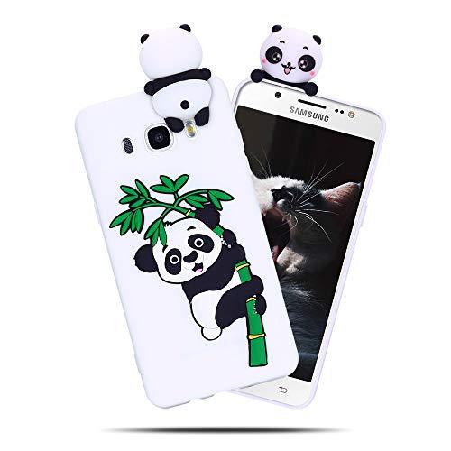 Cover per Samsung Galaxy J5 2016, Custodia Panda Cartoni CaseLover 3D Carino Fumetto Sottile Opaco Trasparente Morbida TPU Silicone Case Antiurto Creativo Anime Gel Bumper Telefono Gomma Caso Bianco