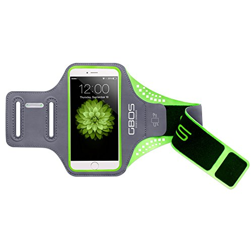 GBOS Super Thin Sweat Free Gym Running Jogging Walking Hiking Workout and Exercise Sport Armband with Key Slot for Xiaomi Mi 4I Green
