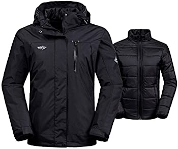Wantdo Women s Waterproof Ski Jacket Insulated Winter Coat Hoodie with Detachable Puffer Black L