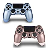 2 Pack Wireless Controller for PS4 Remote for Sony Playstation 4 Remote Control (Titanium Blue and Rose Gold)