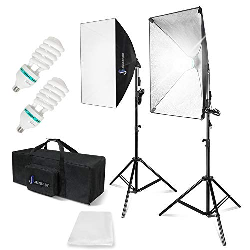 """Js julius studio photography continuous equipment softbox 800w lighting kit with e27 socket light and 20"""" x 28"""" reflectors and 85w 6500k bulbs for video camera portraits photo studio, jsag34..."""