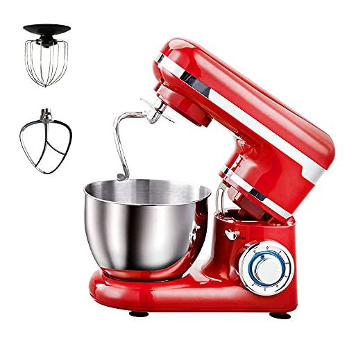 Amasadora de pie de 1200 W, elegante soporte de cocina, mezclador con 3 herramientas, jarra batidora de 4 litros y protector antisalpicaduras para hornear