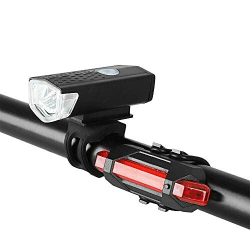 Set di luci LED per bicicletta, luce anteriore ricaricabile tramite USB, set di luci anteriori e posteriori impermeabili