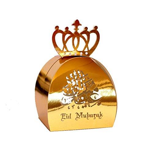 Eid Mubarak doos voor chocolade, goudkleurige snoepjes, Ramadan Kareem suiker, hol, opbergdoos met deel, accessoires, 50 stuks