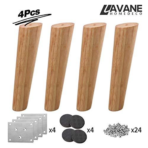 40cm Holz Tischbeine, La Vane 4 Stück Massivholz Schräg Konisch Ersatz Möbelfüße Möbelbeine mit Montageplatten & Schrauben für Sofa Bett Schrank Couch Stuhl