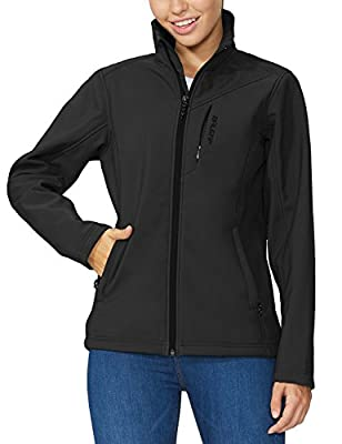 BALEAF Women's Softshell Outdoor Jacket Waterproof Windproof Fleece Lined Winter Coat Black Size M