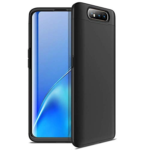 Capa Capinha Anti Impacto 360 Para Samsung Galaxy A80 Tela De 6.7Polegadas Case Acrílica Fosca Acabamento Slim Macio - Danet (Todo preto)