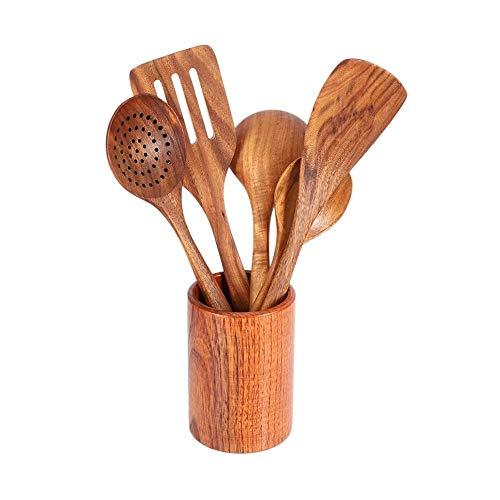 Juego de Utensilios de Cocina Herramientas de Cocina de Madera y Almacenamiento Barril de Madera - Espátula y cucharas de Madera Dura Antiadherente Natural - Durable Eco