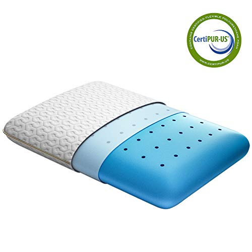 BedStory Memory Foam Pillow, Cooling Gel Pillows for Sleeping, Cervical Bed Pillow for Neck Pain Orthopedic - Side Back Stomach Sleepers, Removable Washable Cover & Ventilated Design, Standard Size
