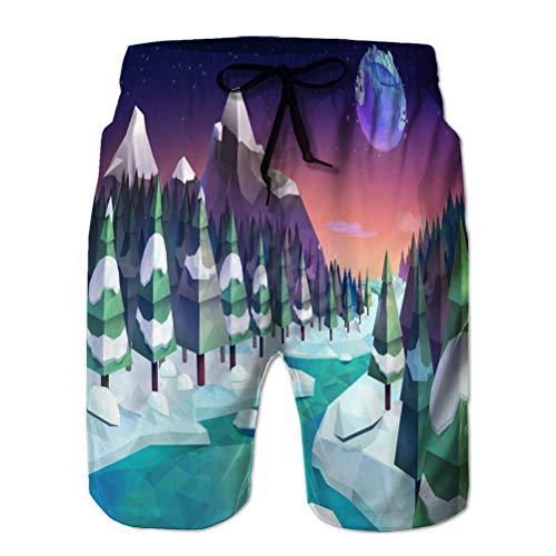 Pantalones Cortos Casuales para Hombre Bañadores de Playa Pantalones Cortos de Tabla de Playa Fondo de Bosque de Invierno Estilo Polietileno bajo Fantasía XXL