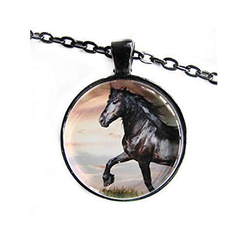 heng yuan tian cheng Collar de caballo espiritual, arte ecuestre, símbolo de la amistad para jinetes, adornos de cristal cúpula, regalos para ella