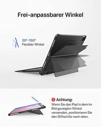 Inateck Tastatur Hülle für iPad Pro 12,9 Zoll 2020/2018(4. und 3. Gen) mit abnehmbarem Standfuß, QWERTZ, KB02010