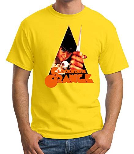 Desconocido 35mm - Camiseta Hombre Clockwork Orange - La Naranja Mecanica - Cine de Culto - Amarillo - Talla m