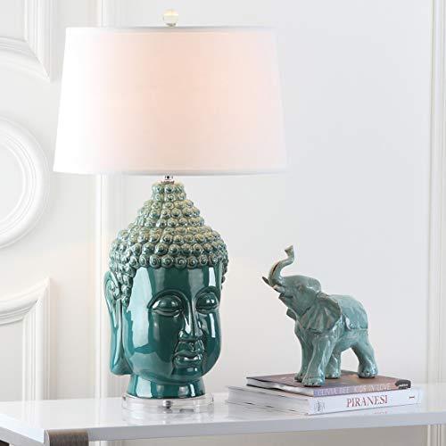 Safavieh Lighting Collection Serenity Buddha Teal 31-inch Table Lamp (Set of 2)