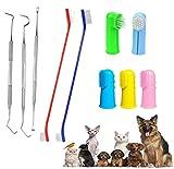 QeeHeng Kit de cepillo de dientes para perros, cepillo de dientes para gatos, incluye herramienta de eliminación de placas, adecuado para gatos y perros de todos los tamaños, 10 piezas