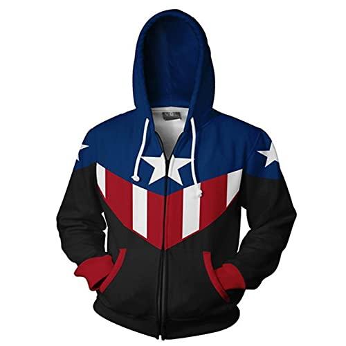 ZYZQ 3D Captain America Hoodie Hombre Cosplay Costume The Avenger Sudaderas Superhero Pullover Avanzado Tech Uniform Quantum Realm Sudadera Sudadera,Blue~A-XXXXL