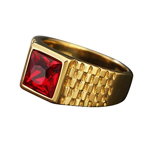 Ubestlove Metal Ring XL Ladder Rings Stacked Rings for Womens Jewellery Fashion Ring Red N 1/2