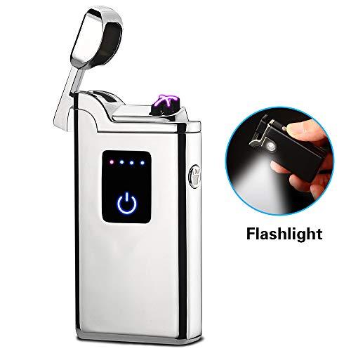 SANShine Doppellicht-Feuerzeug mit Taschenlampe Doppelter Plasma-USB Wiederaufladbar Flammenlos Wasserdicht Winddicht Mini-elektrisches für Zigarren-Kerze Zigarettenpfeife Regenbogenfarben Schwarz