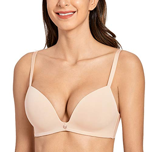 DOBREVA Women's T-Shirt Bra Wirefree Soft Plunge Invisible Smooth Bralette Beige 36C