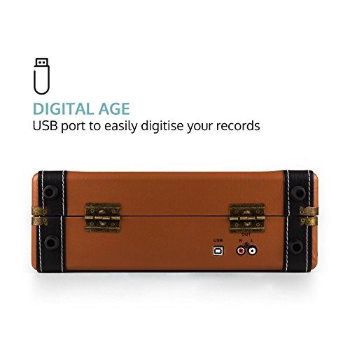 Auna Jerry Lee - Platine Vinyle rétro , Enceintes Stéréo , Numérisation Via Port USB , 33, 45 et...