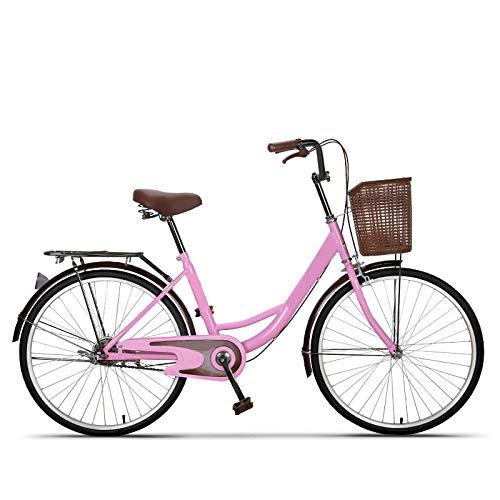 FingerAnge Bicicleta De 24 '' 26 '', Bicicleta De Mujer Retro para Adultos Bicicleta para Estudiantes Bicicleta con Freno De Tambor White26inch
