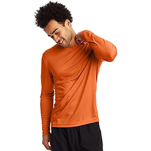 Hanes Men's Long Sleeve Cool Dri T-Shirt UPF 50+, Large, 2 Pack ,Safety Orange