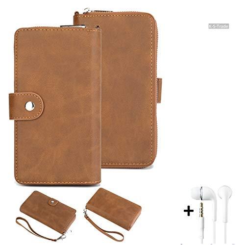 K-S-Trade Handy-Schutz-Hülle Für Cyrus CS 40 + Kopfhörer Portemonnee Tasche Wallet-Hülle Bookstyle-Etui Braun (1x)