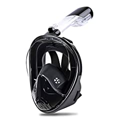 FULL FACE DESIGN-Our snorkel mask provides a viewing area,makes it easier than ever to breathe comfortably through your mouth or nose while snorkeling. DRY TOP SYSTEM-Unique inlet and outlet valves are used,stop salt water from getting into your mout...