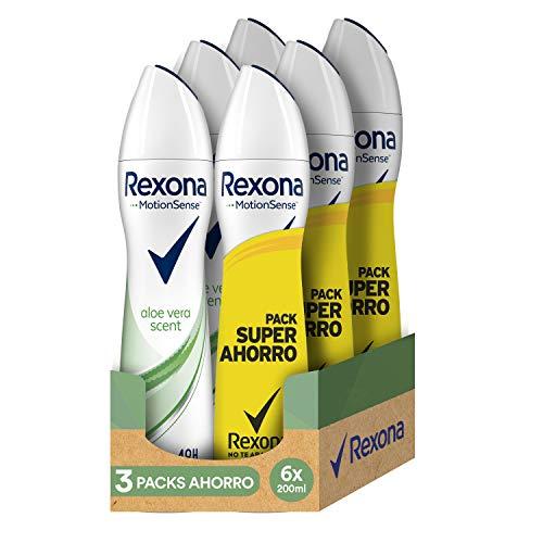 Rexona Desodorante Antitranspirante Aloe Vera - 3 Packs Ahorro de 2x200 ml (Total: 1200 ml)