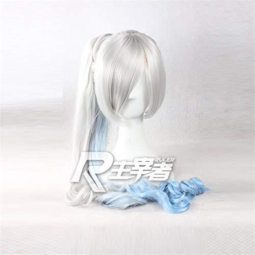 Rwby White Trailer Weiss Schnee Cosplay pelucas gris degradado azul largo Ombre ondulado resistente al calor disfraz peluca de cola de caballo